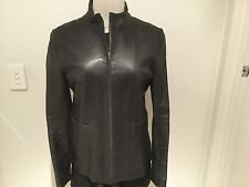 BISONTE Black Leather Silver Zip Trims Jacket Fully Lined US6/AUST 10/SMALL
