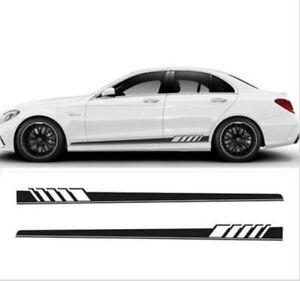 2x Car Body Graphics Vinyl Decal Sticker Sports Racing Long Stripe Decals Black