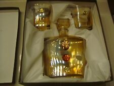 Franco Vetrerie e Cristallerie 3-Piece Liquor Decanter & Lowball Glass Set New