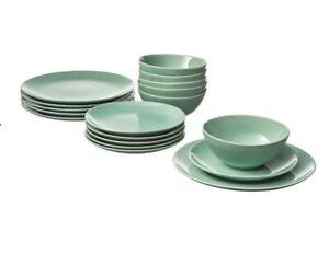 FARGRIK 18-piece Dinnerware Set, Light Green NEW