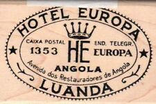 Tim Holtz Collection Hotel Europa Luanda word wood mounted Rubber stamp - New