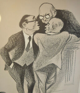 William Gropper Lithograph Signed Pencil Conference at the Bench Framed Matted