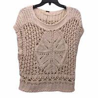Free People Womens Sweater Top Beige Short Sleeve Scoop Neck Ribbed Crochet XS