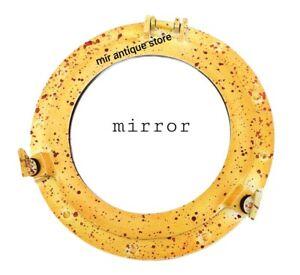 12'' Nautical Ship Porthole Mirror Yellow Patina Finish Shipwrecked Antique