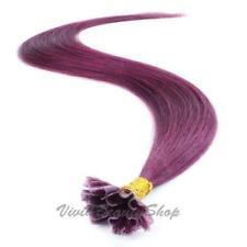 "100 Purple Pre Glued Bond U Nail Tip Fuion Keratin Long Human Hair Extension 22"""