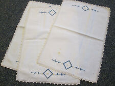 3 VINTAGE WHITE EMBROIDERED and CROCHETED PLACEMATS