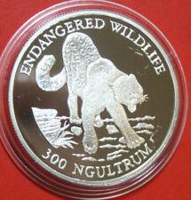 "Bhutan 300 Ngultrum 1991 Pp-Proof Silver Coin Km# 65 #F1226 "" Snow Leopard """