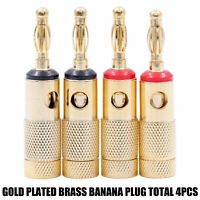 4PCS BANANA PLUG Gold Plated Brass SPEAKER CABLE Male Jack Connector HiFi AUDIO