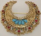 VINTAGE CORO GOLD PLT FAUX TURQUOISE PEARL RUBY RHINESTONE CRESCENT MOON BROOCH