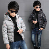 Fashion Kids Boys cotton Down Coat hooded Winter thick Warm padded Short Jacket