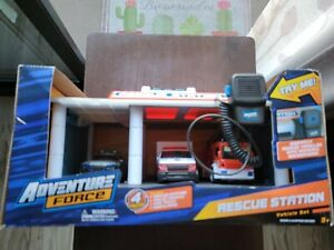 Adventure Force Rescue Station Toy Fire/Police Station 3 Vehicle Lot