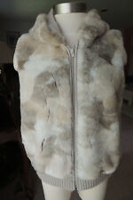 Brandon Thomas  Vest with  faux fur lining sz Small with hood new zipper front