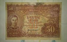 1941 MALAYA Straits Settlement KG KING GEORGE fifty 50 cents banknote F pin hole