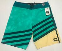 BILLABONG MENS SLICE X BOARD SHORTS SWIMSUIT SWIM TRUNK BLACK GREEN NEW 32