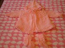 Gorgeous Hand Knitted Hooded Jacket and Bootees Set, Size 6-12 Months (0)