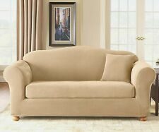 Sure Fit Stretch Pique Sofa Slipcover Two Piece in Cream
