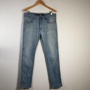 Wrangler Strangler Mens Denim Jeans Size 34 Blue Cotton Blend