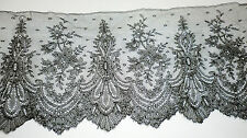 """Wide Vintage Antique Black Mourning Funeral Lace Trim Edging Chantilly 6"""" X 28"""""""
