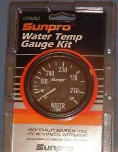 "Sunpro 2-5/8"" Mechanical Water Temperature Gauge New Black / Black Bezel CP8062"