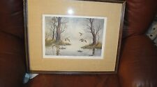 """Cecy Turner Framed Matted Signed Limited Ed Print 112/470 """"Woodland Retreat"""""""