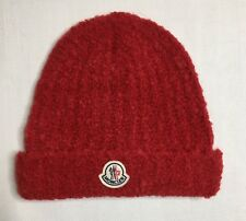 NEW MONCLER RED SOFT CHUNKY KNIT ALPACA MOHAIR, LOGO BEANIE HAT, ONE SIZE