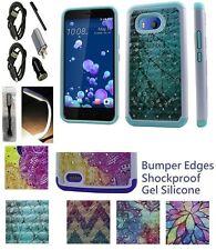 for HTC Ocean U11 ShockProof Soft Edge Hybrid Case Diamond Bling HardBack Cover+