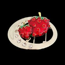 Classy 3D Belt Buckle Buckles Red Strawberry Strawberries Fruit Rhinestone