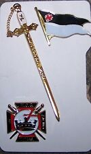 Medieval Masonic Knight Templar KT Sword Flag Pin Set Case Jewel Member Award 33
