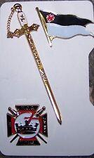 Medieval Masonic Knight Templar KT Sword Flag Pin Set Case Jewel Member Award 33