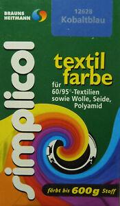 ★ 5 Päckchen Simplicol Textilfarbe 25g von Brauns-Heitmann ★ KOBALTBLAU ★