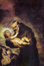 Oil Bartolome Esteban Murillo - Saint de Cantalicio with baby at sunset scene