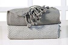 EHC Luxury Chevron Cotton Single Sofa Throw Blanket, Grey, 125 X 150 Cm, Pack 2