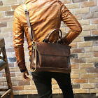 Men's Leather Crossbody Messenger Shoulder Bags Briefcase Work Business Handbag
