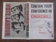 VINTAGE STYLE WWII 1945 ELECTION POSTERS - VOTE LABOUR - OR VOTE CHURCHILL