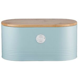 Typhoon Living Blue Stainless Steel Bread Bin Lid Kitchen Loaf Storage Container