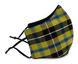 Cornish National Tartan Face Mask Adjustable Straps Triple Layered Reusable
