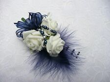 Wedding flower buttonhole mother of the bride/groom ivory & navy blue.. PIN ON