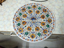 White Marble Serving Dish Plate Hakik Gemstone Mosaic Inlay Kitchen Decor Arts