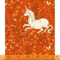 Unicorn Heather Ross 20th Ann Windham Cotton Quilt Fabric 39657A 7 Orange