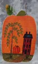 COUNTRY WOODEN PUMPKIN HAND PAINTED