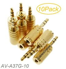 10-Pack 3.5mm Stereo TRS Male Plug to 3.5mm Mono TS Female Jack Audio Adapters