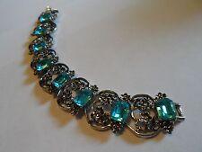 Vintage Silver Tone Flower Filigree Bracelet With Blue Glass Rhinestones