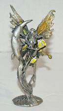 Whimsical Pewter Fairy with Moon and Yellow Roses, 5 Inches High