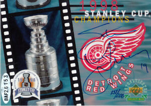 Steve Yzerman signed autograph Detroit Red Wings 1998 Stanley Cup card #/200 UDA