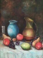 Quadro Natura Morta con frutta Dipinto Olio su tela firmato Esposito in cornice