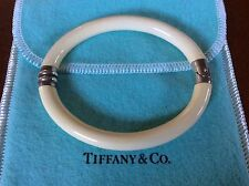 Vintage Tiffany & Co Sterling Silver Ivory Enamel Hinged Bangle Bracelet