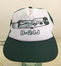 B-24 LIBERATOR CAP - Vtg 70s-80s WWII Air Force Green Snapback Mesh Trucker Hat