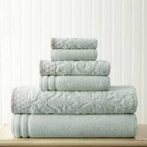 Modern Threads Damask Jacquard 6 Piece Blue Towel Set With Embellished Border