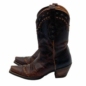ARIAT Dixie Western Boot Brown Leather Studded Square Toe Pull On SZ 7.5 B