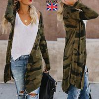 Womens Long Cardigan Camouflage Long Sleeve Jacket Coat Parka Outerwear Tops GO